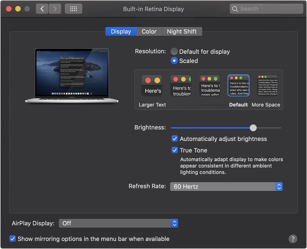 MacBook Pro 16'' : de 47,95 Hz à 60 Hz, le taux de rafraîchissement
