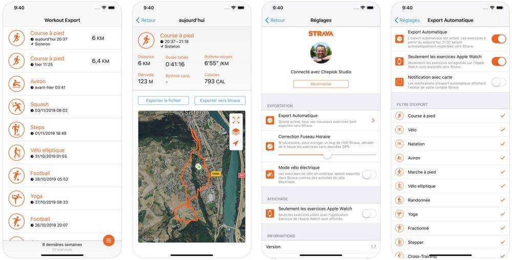 L'interface de Workout Export sur iOS.
