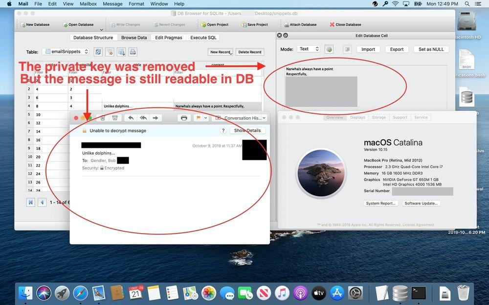 Mail : une base de données ne respecte pas le chiffrement des emails