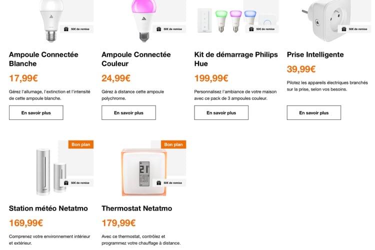 Domotique: Orange rembourse 50€ sur l'achat de quelques produits