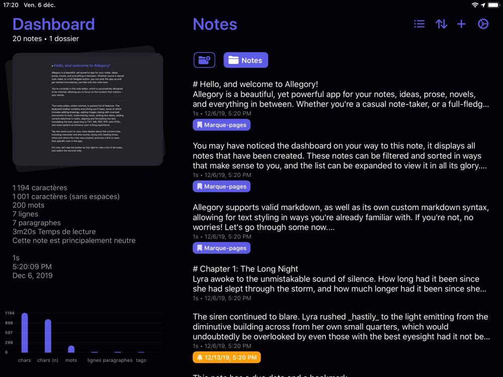 Allegory, un nouveau carnet de notes prometteur sur Mac et iOS