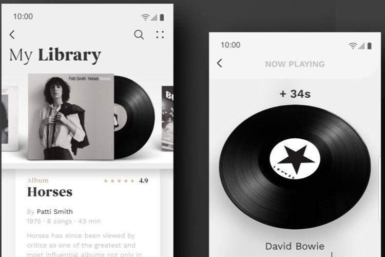 Une interface de lecteur musical pleine de vinyle