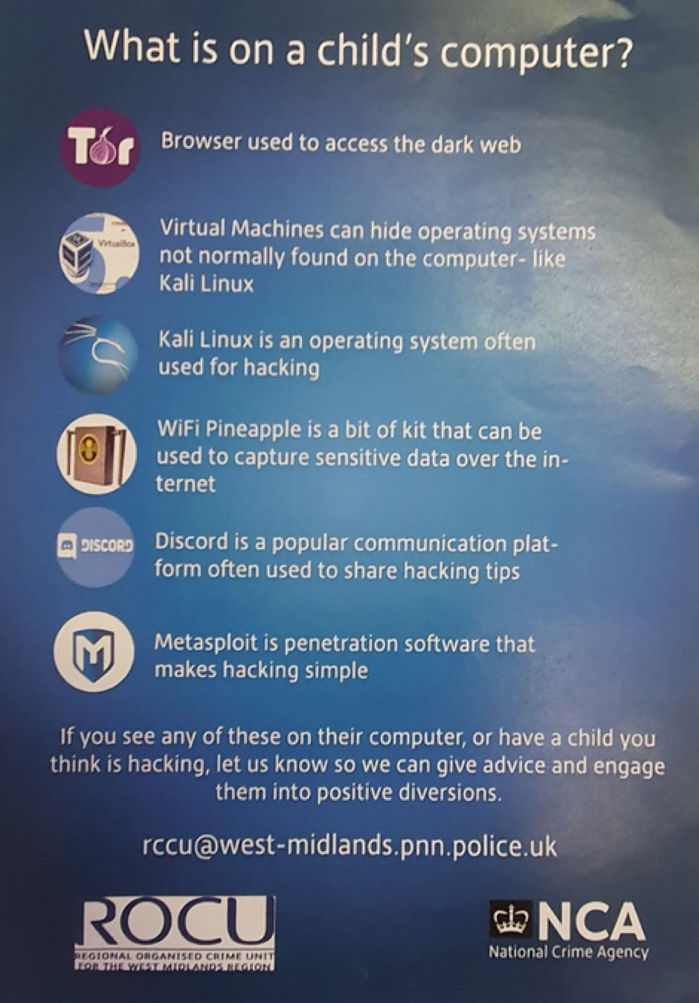Une affiche britannique met en garde les parents contre Discord et Tor