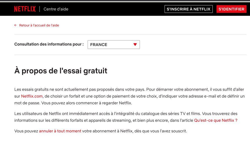 L'essai gratuit n'est plus proposé en France — Netflix