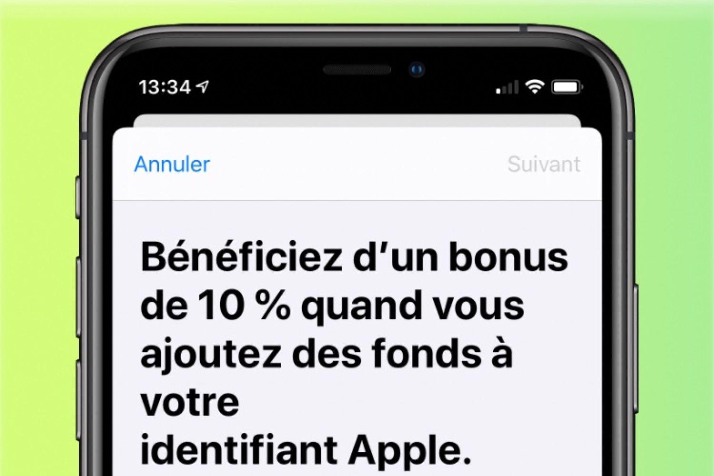 Apple offre un bonus de 10% à l'ajout de fonds sur son compte AppStore