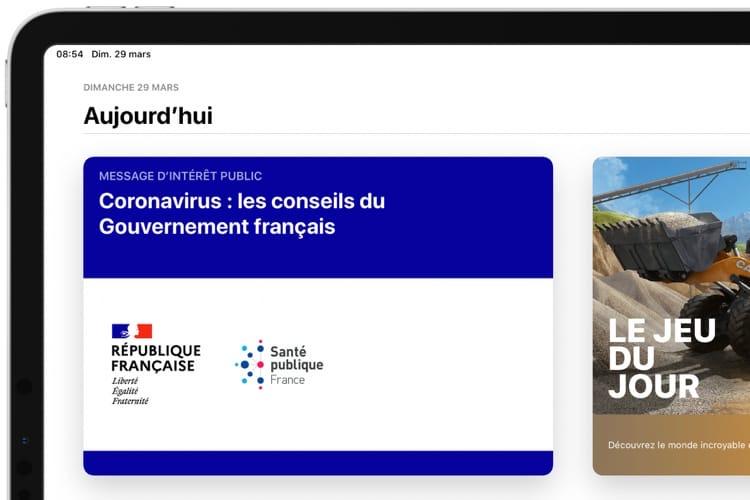 L'AppStore français affiche un message du gouvernement sur le coronavirus