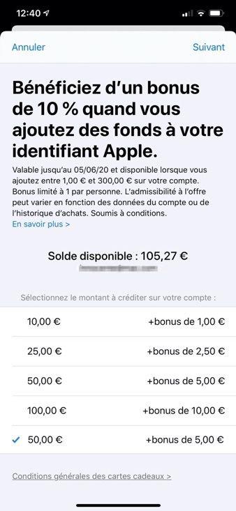 Apple Offre Un Bonus De 10 A L Ajout De Fonds Sur Son Compte App Store Igeneration