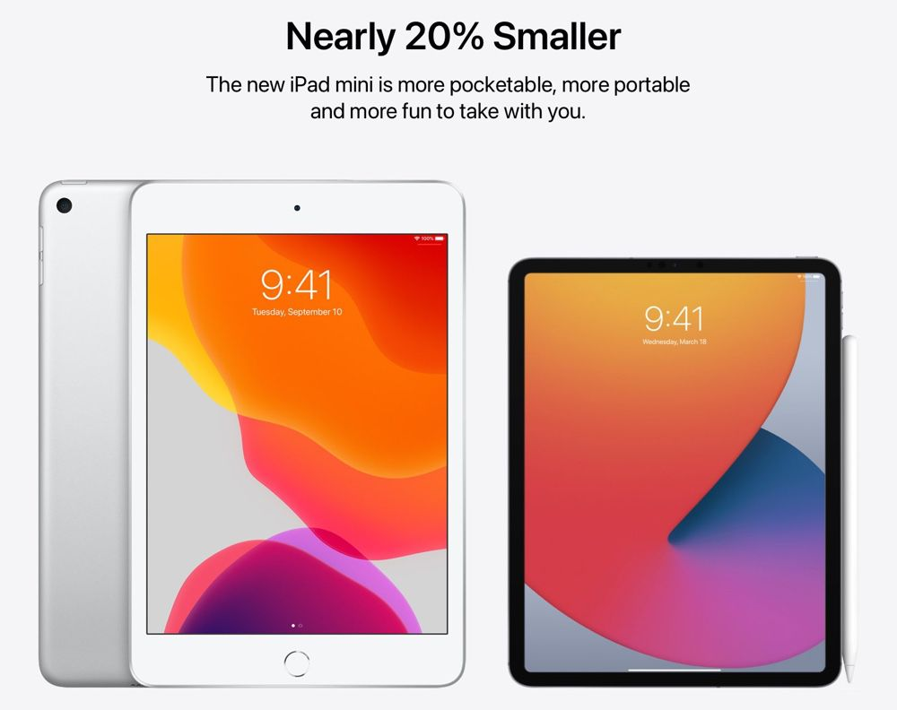 Concept : l'iPadmini avec les bordures amincies des iPadPro
