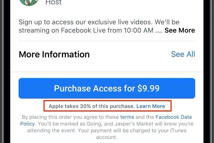 Apple abandonne temporairement sa commission sur les ventes de cours dans Facebook