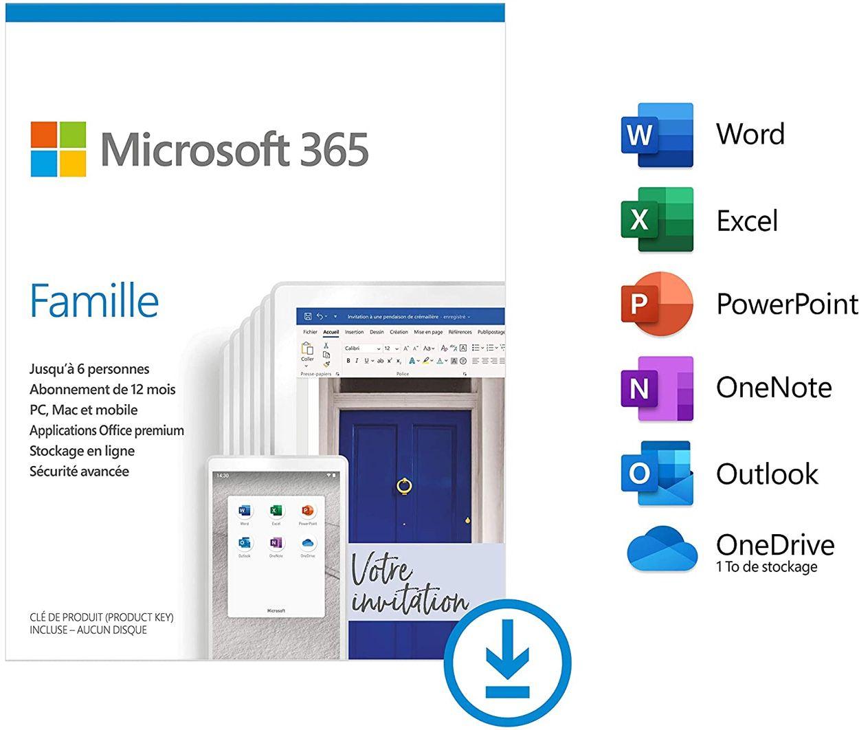 Abonnement d'un an à Microsoft 365 Famille à moitié prix (49 €) — Promotion