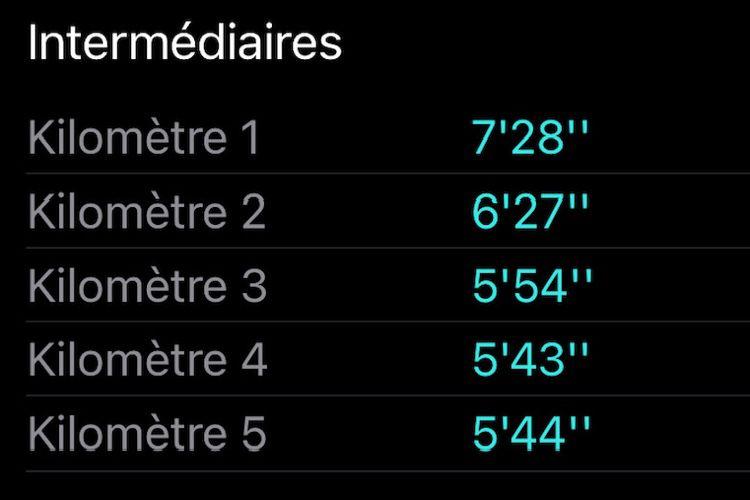 iOS 14:disparition dans Forme des temps intermédiaires calculés par d'anciennes AppleWatch