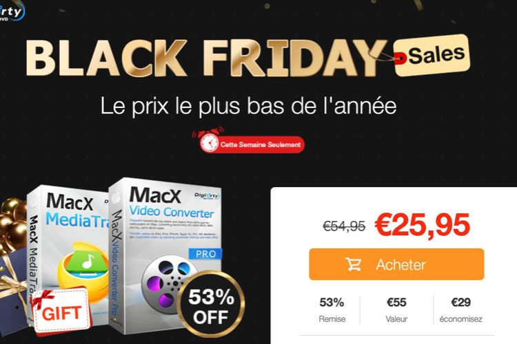 Offre Black Friday : MacX Video Converter Pro est à 25,95 €, MacX MediaTrans offert en bonus  📣