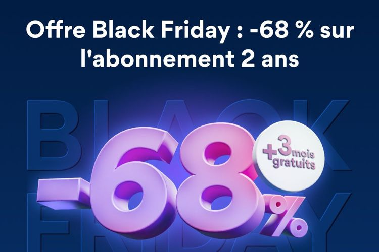 Offre Black Friday NordVPN : - 68 % sur l'abonnement 2 ans, soit 3,15€ / mois + 3 mois supplémentaires offerts!  📣