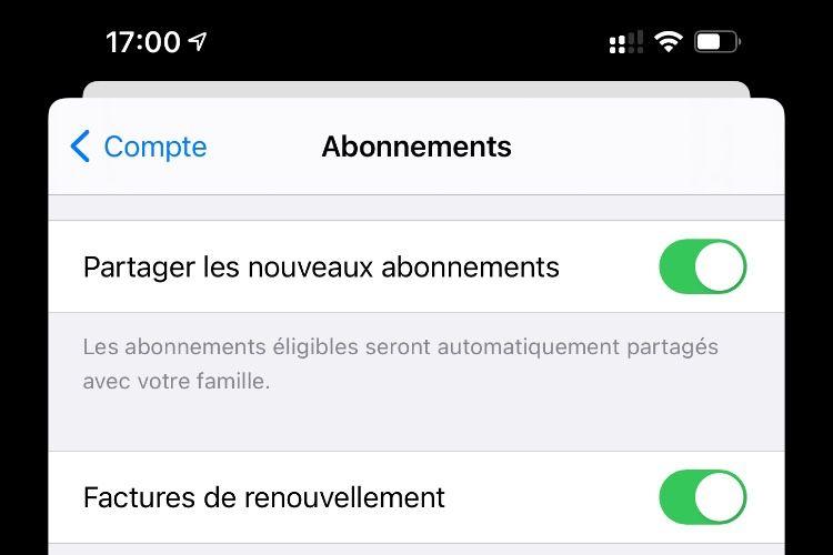 iOS 14.2 : les abonnements aux apps et les achats intégrés peuvent se partager au sein d'une famille