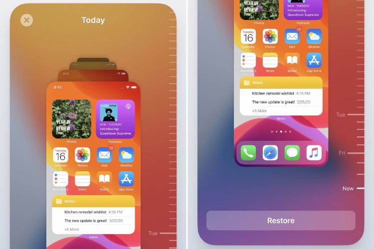 Un concept de Time Machine pour iOS