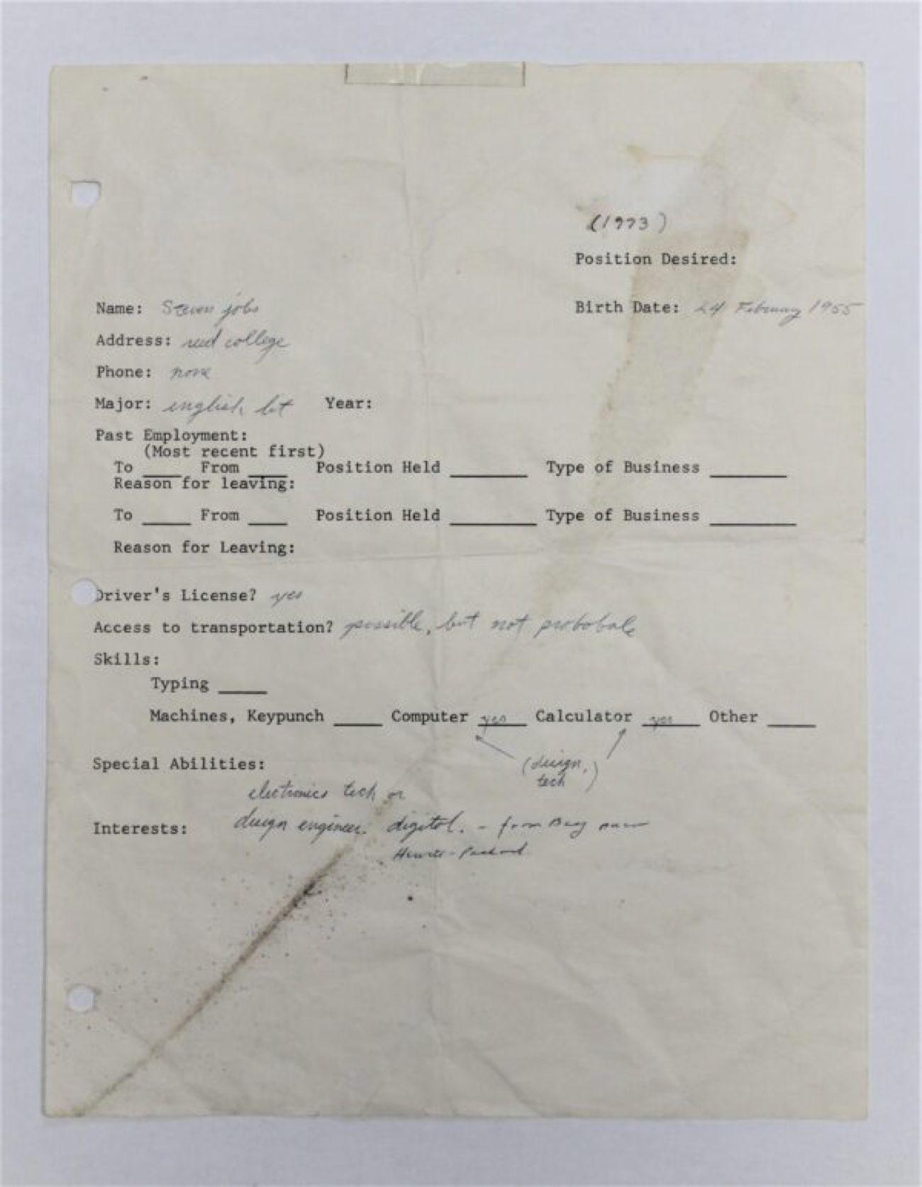 175 000$ pour une feuille de papier signée Steve Jobs