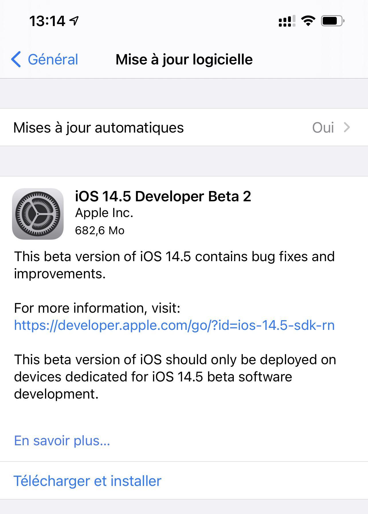 Nouvelles fonctionnalités d'iOS 14.5 Beta 2