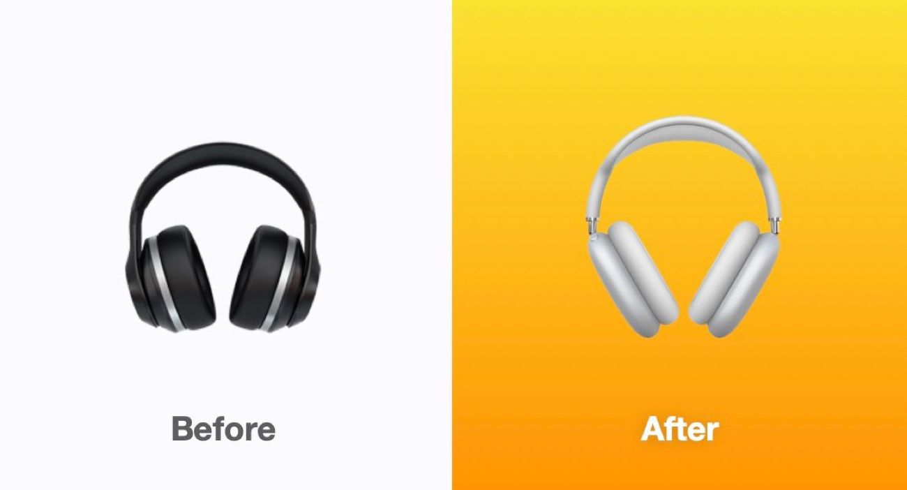 L'icone du casque reprend le design de l'Apple AirPods Max