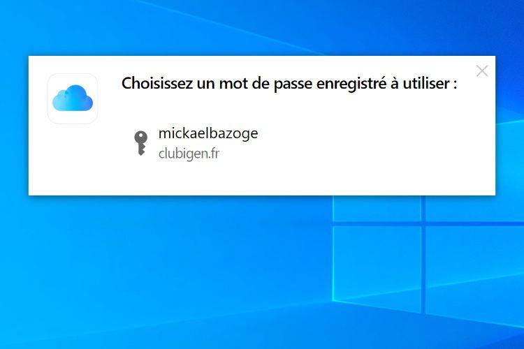 Aperçu du trousseau iCloud pour Chrome sous Windows
