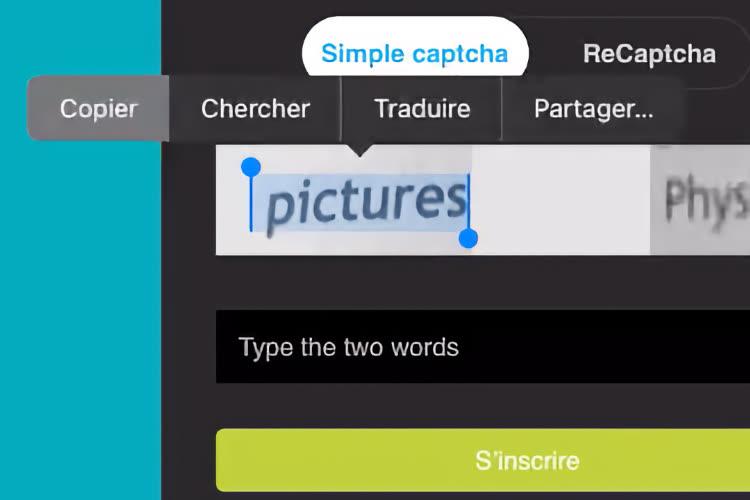 La fonction Texte en direct permet de résoudre rapidement certains CAPTCHA