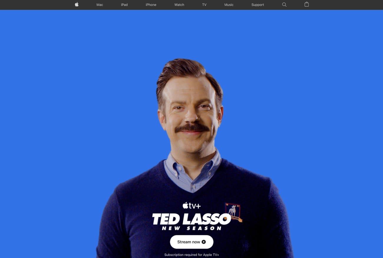 Apple.com célèbre le retour de Ted Lasso