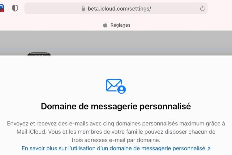La fonction « Domaine de messagerie personnalisé » disponible sur iCloud.com en bêta 🆕