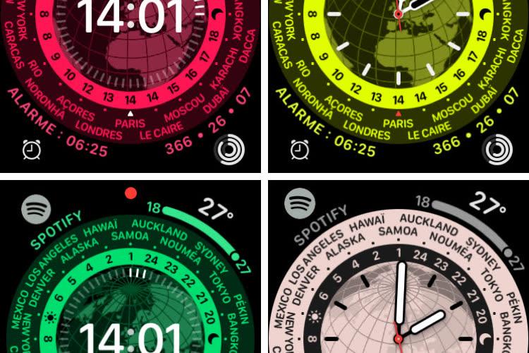 Horloge mondiale et Rebond, les cadrans surprise de watchOS8