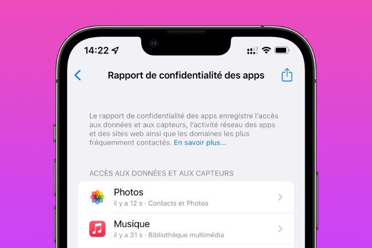 iOS 15.2 : premier coup d'œil sur le nouveau rapport de confidentialité des apps